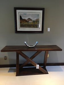Distressed solid wood console table