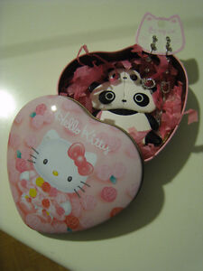 Brand new Hello Kitty earrings & tare panda mirror in Kitty tin