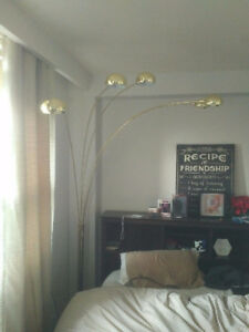 SOLD Gold brush SPIDER lamp with 5 branches real marble base