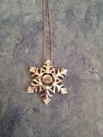 Sapphire Snowflake Pendant in Sterling Silver