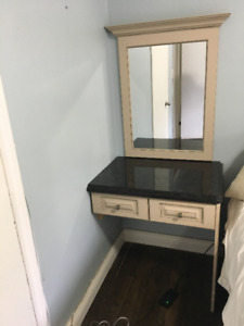Make up/Dresser table with mirror - Custom includes Granite top