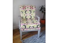 Vintage Mid Century Parker Knoll Chair Upholstered in Amy Butler Fabric