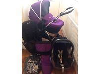 HARDLY USED SILVER CROSS WAYFARER PRAM PUSHCHAIR CARSEAT AND MORE IN DAMSON/BLACK
