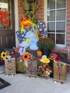 Reversible Scarecrow/Snowman Porch signs