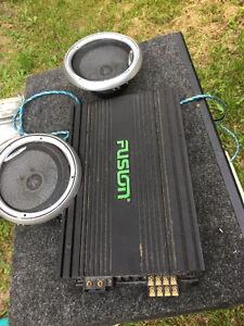 Mtx Sub woofer, fusion amplifier, clarion speakers