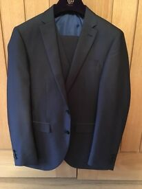 Next slim fit 3 piece suit (blue with grey trimming)