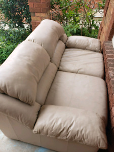 Beige leather Couch - 2 seater