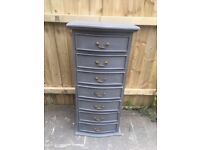 CHEST OF DRAWERS PAINTED FRENCH GREY SOLID WOOD