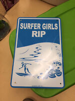 Blue/White Surfer Girls Rip Metal Sign. Orleans Pick Up.   Has