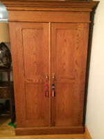 Custom made Solid Oak Wardrobe/Hutch