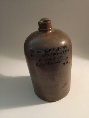 VERY RARE STONEWARE JUG, E.S. JOHNSON, EAST NEW MARKET, DORCHESTER 1870s