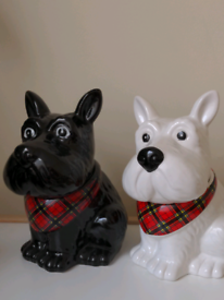 2 ceramic dog biscuit barrels