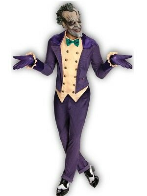 Arkham City Outfits (Mens Deluxe Arkham City Joker Fancy Dress Costume Batman Halloween Outfit + Mask)