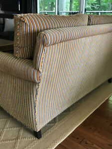 Custom gray/ivory/gold pinstriped loveseat, down filled!