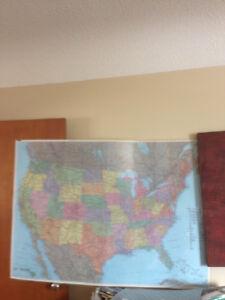 BIG LAMINATED WALL MAP of  U.S.A.