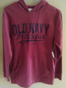 Old Navy Boy's burgundy graphics hoodie sweater Size XL 14 NWT