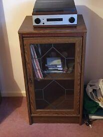 Oak effect hi fi cabinet