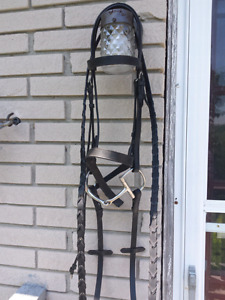 Cob size black bridle, two cob sized running martingales