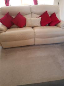 Recliner Sofa Cream Leather