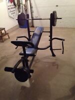 Weight bench with weights. Like new