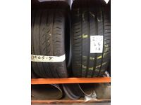 2x 235/45/18 part worn tyres, best treads, fully tested, call Rutherglen Tyres 0141 643 1532