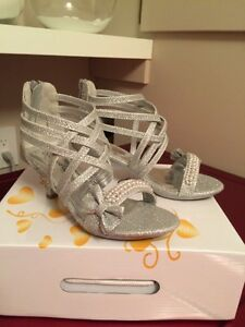 Girls size 2 Sparkly Silver High Heels