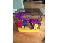ALMOST NEW 2 floor hamster cage with a free hamster ball and hamster play area
