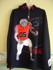 Men's Black hoodie sweater football graphics Size Large NEW