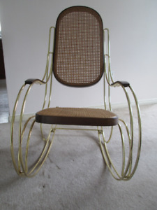Italy Scrolled Brass & Cane Rocker chair Thonet inspired