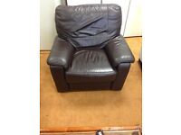 Electric leather recliner in brown delivery available