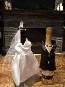 Bride and Groom Wedding Wine Bottle Covers