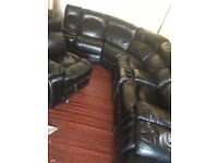 Large 8 seater corner suite sofa recliner & rocker 2 seater drinks holder Rrp £7000 black leather