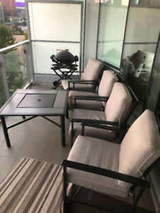 Patio furniture FULL SET $220 ONLY!  TABLE WITH BUILT IN GRILL