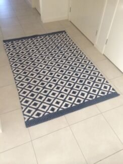 Blue and white patterened woven rug Bellbird Park Ipswich City Preview