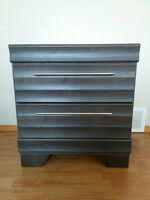 BNIB Pair of Modern Grey scalloped Accented Night stands