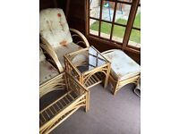 Country Cane Conservatory Furniture (2 armchairs, sidetable, coffee table, footstool) - £160 ono