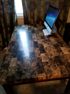 Table with 6 chairs, couch set, filing drawer, desk
