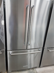 Stainless Fridge. French Doors. Bottom Freezer. 36 inch.