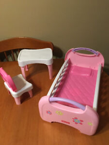 Fisher price baby doll furniture bed table chair