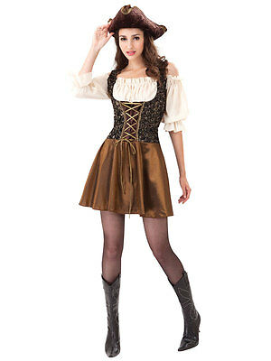 Womens Pirate Outfit (Caribbean Pirate Ladies Fancy Dress Captain Buccaneer Womens Costume)