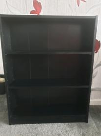2 shelf black bookcase