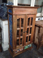 Buffet vitré bois teck Indonesie / Teak wood cabinet Indonesia