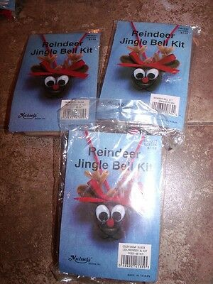 3 Michaels REINDEER JINGLE BELL Ornaments Kit