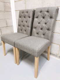2x Grey Herringbone Fabric Buttoned Roll Back Accent Dining Chairs