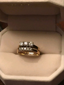 14k trinity ring with wedding band