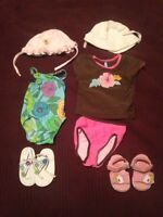 Lot baby beach items shoes hats swim suits rash guard