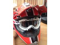 Bike helmet size9 boots and goggles
