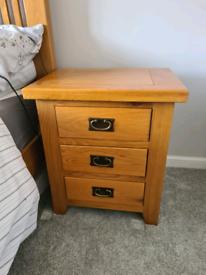 Rustic solid oak bedside table
