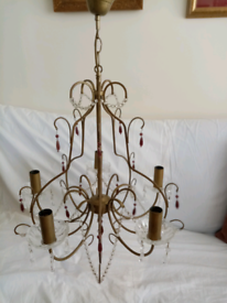 Brass and crystal chandelier.