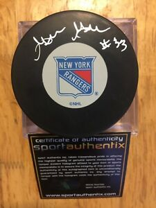 GILLES GRATTON Signed New York Rangers 8x10 NHL Hockey Puck